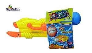 Toyzstation Medium Pressure Water Gun Pichkari With Free Balloons Assorted