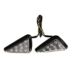Generic 2x Universal Motorcycle Flush Mount Triangle LED Smoky Turn Signal Lights