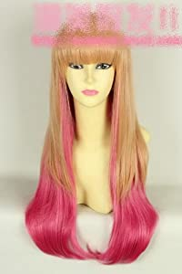 Long straight blond and pink cosplay wig LOLITA cosplay wig wig girls princess line Shibuya Linen Rose Gradient wig