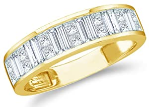 Size - 7 - 14k Yellow Gold Princess Cut and Baguette Channel Set Diamond Ladies Womens Wedding or Anniversary 5mm Ring Band (1.0 cttw)