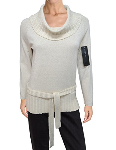 Jones New York Metallic Ribbed Cowlneck Belted Knit Sweater, Ivory Cream (Extra Large)