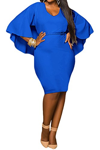 LaSuiveur Women's Batwing Sleeve Plunge Bodycon Plus Size Club Dress XXL Blue, XX-Large