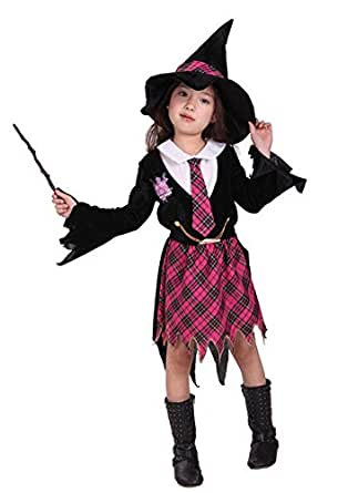 Halloween Costumes Witch Wizard Plaid Skirt Witch Hat Performance Clothing Girl