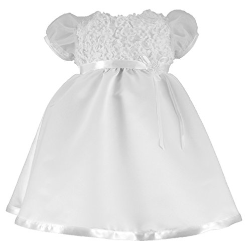 Haddad Brothers Baby-Girls Newborn Christening Baptism Special Occasion Satin Dress with Floral Bodice and Puffed Sleeves, White, 9-12 Months