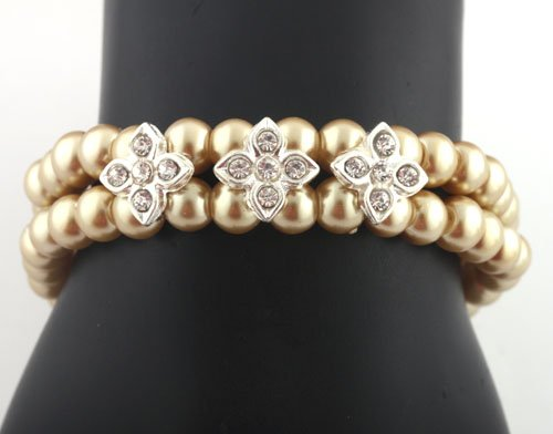Ladies Gold Pearl Beads with Iced Out Flowers Stretch Bracelet