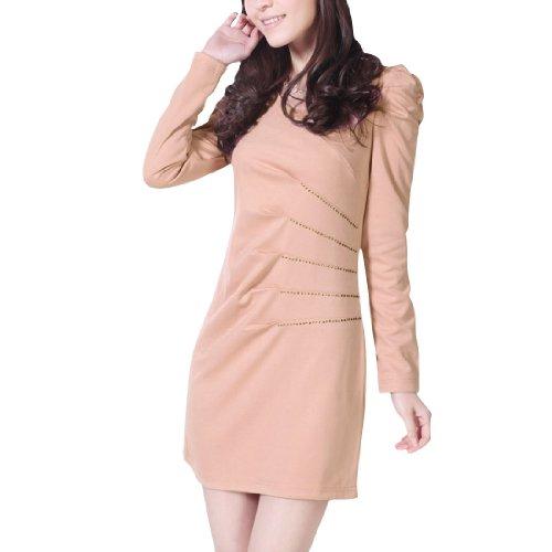 Allegra K Women V Neck Pullover Side Zipper Solid Color Office Elegant Dress Pink XS