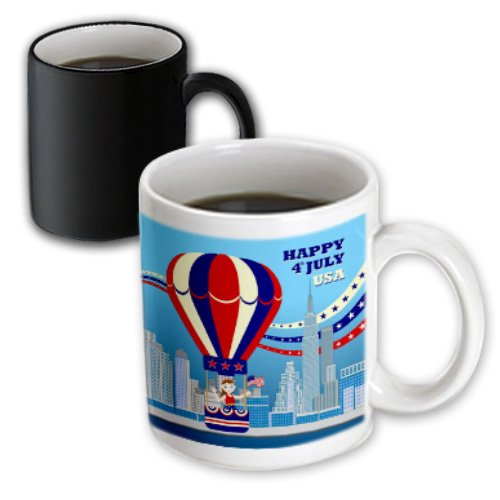 Belinha Fernandes - Celebrate Fourth Of July - Afro American Boy Celebrates July 4 Flying Red And Blue Hot Air Balloon With American Flag - 11Oz Magic Transforming Mug (Mug_125924_3)