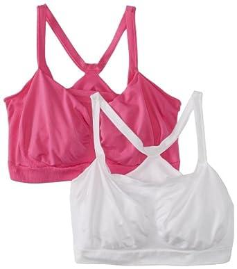 Hanes Women's 2 Pack The Bandini Wire Free Bra, White/Phlox Pink, 2X