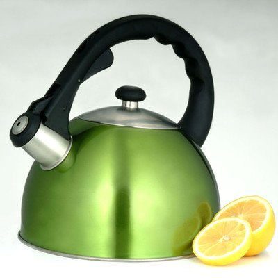 Creative Home Satin Splendor 2.8-Quart Whistling Tea Kettle, Chartreuse
