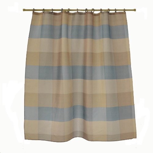 blue and brown stripes printed fabric shower curtain fabric covered