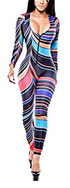 Womens Stylish Afrique Tribal Long Sleeve Bodycon Jumpsuit