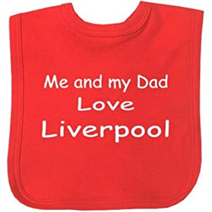 Me and my Dad Love Liverpool Velcro Baby Bib with Choice of 9 Colours - 100% Cotton. Red from Niccolas B