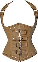 Women's PU Leather Halter Shoulder Straps Underbust Corset Vest Waistcoat Top
