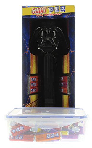 PEZ Giant Darth Vader Candy Roll dispenser with 1 LB refill that comes in a EasyLock Container