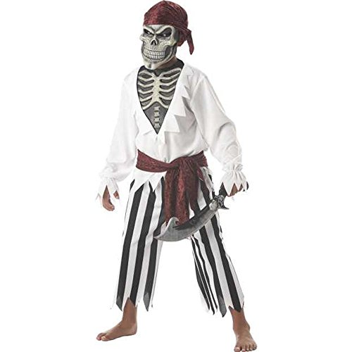 Child's Black And White Pirate Costume (Size: X-Large 12-14)