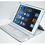 iPad mini ケース/アイパッド ミニ/スタンドC型/合皮製/牛皮模様/モニター回転式/ホワイト/白色