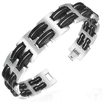 Stainless Steel Two Tone Mens Link Bracelet