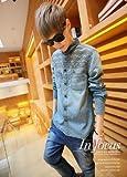 (フルールドリス)Fluer de lis デニム 刺繍 シャツ ワイシャツ Yシャツ ドレスシャツ カジュアル アパレル メンズ ファッション 服 2361