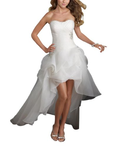 GEORGE BRIDE Strapless High-low Satin Wedding Dress Size 10 White