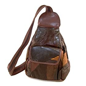Brown Embossed Leather Patchwork Sling MINI Backpack Style Handbag