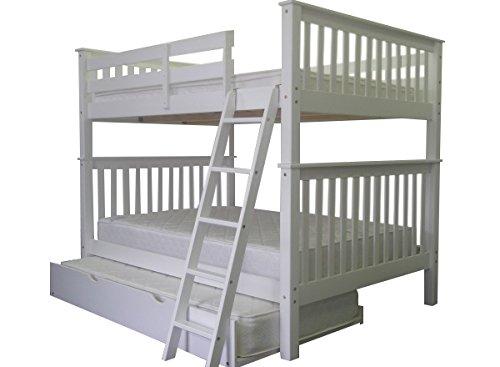 Bedz King Bunk Bed with Twin Trundle, Full Over Full Mission Style, White