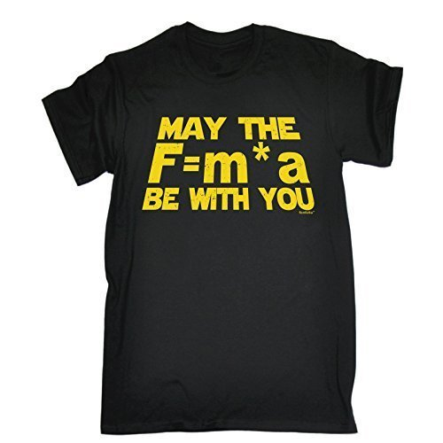123t Men's - MAY THE F=M*A BE WITH YOU - NEWTONS FORCE LAW (Distressed Style Print) Loose Fit T-shirt