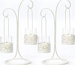 2 White Lace Cutout Candelabra Iron And Glass Centerpieces