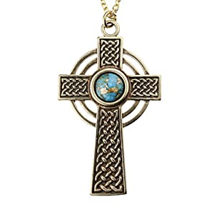 Small Celtic Cross with 8mm Persian Blue Copper Turquoise Gemstone on Rolo Chain