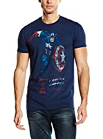 Marvel Camiseta Manga Corta Captain America (Azul Marino)