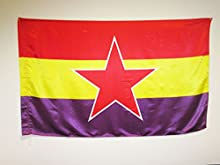 BANDERA ESPAÑA REPUBLICANA ESTRELLA DEL EJÉRCITO POPULAR 150x90cm en RASO para un palo - BANDERA DE LA REPUBLICA ESPAÑOLA 90 x 150 cm - AZ FLAG