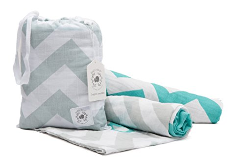buy Baby Days 100% Organic Cotton Swaddle Baby Blankets | 2 Unisex Designs, Premium Fabric | Bonus Bag | Large, 47