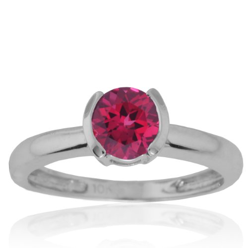 10k White Gold Created Ruby SemiBezel Ring, Size 6