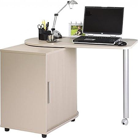 Simmob - Bureau Informatique Chêne Table Pivotante et Rangement - Coloris - Taupe