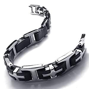 Konov Jewellery Men's Stainless Steel Rubber Cross Bracelet, Colour Black Silver, Length 8 1/4 inch by Pin Zhen