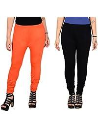 Aashirya Churidar Cotton Lycra Women Leggings Orange & Black Combo
