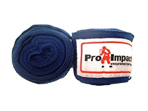 Buy Boxing MMA Handwraps 180 Mexican Style Elastic 1 Pair BLUE by Pro Impact Sports