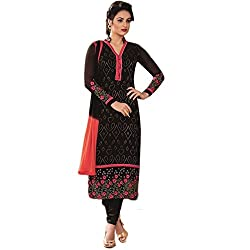 Latest Wize Black Straight Cut Embroidered Georgette Party Dress Material with Chiffon Dupatta