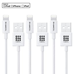 [3 PCS Pack] HAWEEL® MFI Lightning 8 Pin USB Data Sync Charging Cable Kit for iPhone 6 & 6 Plus / iPad Air 2 / iPad mini 3 & mini 2, Length: 1m(White)