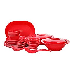Incrizma Plastic Square Plate and Bowl Set, 32-Pieces, Red