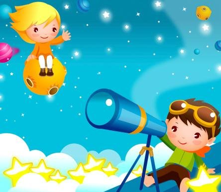 Boy Looking Through A Telescope With A Girl Sitting On Ufo Wall Decal - 24 Inches W X 21 Inches H - Peel And Stick Removable Graphic