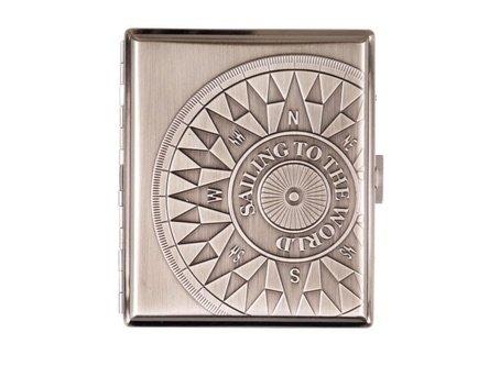 Zigarettenetui Metall 'Kompass' chrom antik 18er mit Bügel