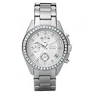 Fossil Women's ES2681 Stainless Steel Bracelet Black Glitz Analog Dial Chronograph Watch