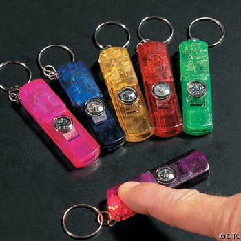 3-In-1 Whistle, Toy Compass and Light Key Chains