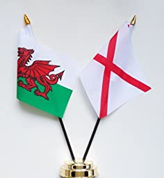 Wales and St Patrick\'s Cross Friendship Table Flag Display 25cm (10\
