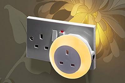 Auraglow Automatic Plug In Multi Colour Plug Through LED Nursery Night Light with Dusk till Dawn Daylight Sensor