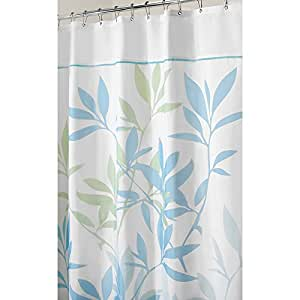 Interdesign Leaves Fabric Shower Curtain 72 Inch By 84 Inch Blue Green Home Kitchen