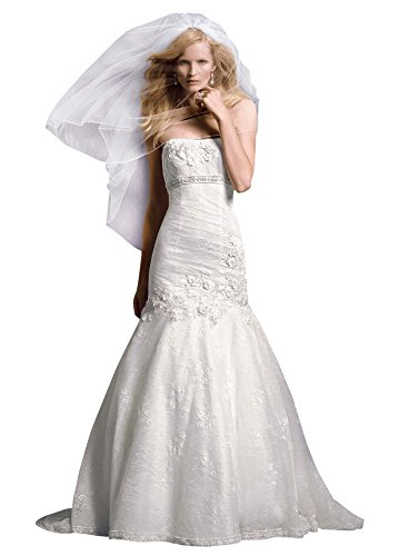 Petite Lace Mermaid Wedding Dress with Floral Details Style 7CWG377, Ivory, 16P