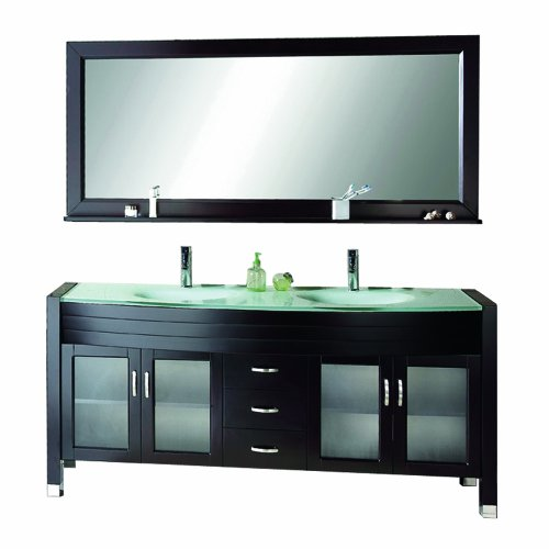 bathroom vanity with mirror with shelf tempered glass countertop