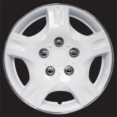 "HS (45382) White 13"" Premium Quality Hubcap, (Pack of 4)"