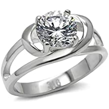 buy Beydodo Stainless Steel Women'S Ring (Promise Ring) Four Prongs Cz Hollow Shaped Size 9 Silver
